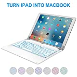 iPad Pro 12.9 inch Keyboard Case Cover with 7-Colors Backlit - Raydem Ultra Slim Wireless Bluetooth Keyboard Folio Case 130 Degree Multi-Angle with Auto Wake Sleep for Apple iPad Pro 12.9 inch 2017