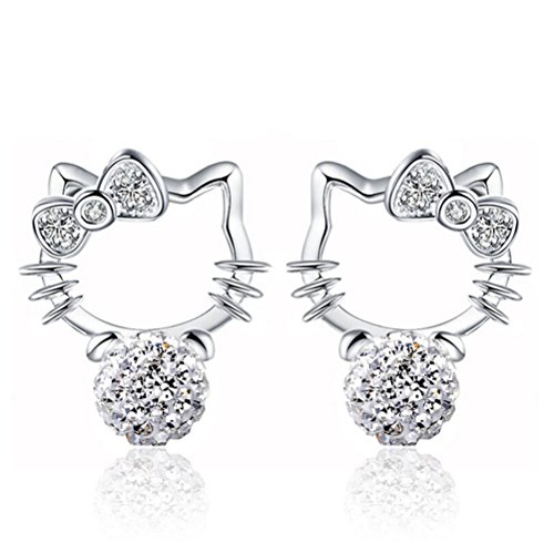 Adorable Woman Sterling Silver Novelty Cute Hello Kitty Crystal Eardrop Stub Earrings For Girl Women Lady