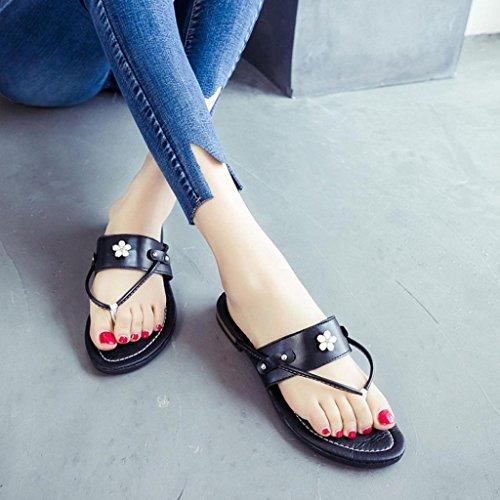 ... Hunpta Sommerstrand Frauen Schuhe Blume flachen Sandalen rutschfeste  Hausschuhe Sandale Schwarz ...
