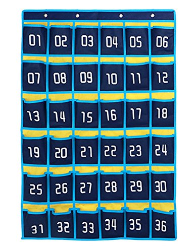 Classroom Pocket Chart Numbered, Cell Phones Holder Organizer with Hooks for Calculators and All iPhones (36 Pockets,Blue)