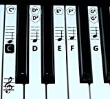 FineFun Piano key and Keyboard Music Note Stickers Learning Piano Label Decal (Black)