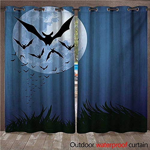WilliamsDecor Halloween Outdoor Curtain for Patio A Cloud of Bats Flying Through The Night with a Full Moon Fall Season W72 x L108(183cm x 274cm)