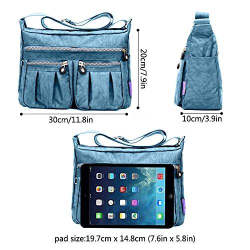 Travel pockets Rouge Zipper Casual amp; Nylon Shoulder Tote With Waterproof Crossbody Bags Multi Grey Lightweight Women's Handbag Dtworld Messenger black Bag w6xTzfq