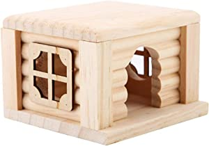 Pet Hamster House, 100% Natural Wood Odorless Home Openwork Lace Window DIY Hideout Hut Play Nest Toy Viewing Room Natural Living for Small Squirrels Gerbils Hamsters Golden Bears