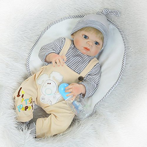 [Boy Full Soft Silicone Real Body Reborn Baby Dolls With Bottle Fan Moon 23-Inch] (Cabbage Head Costume)