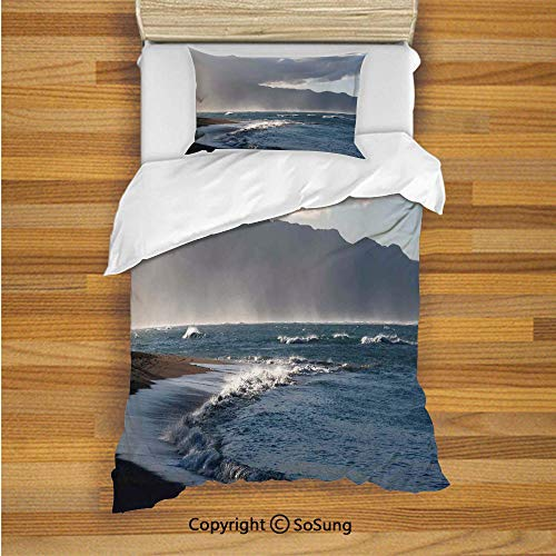 SoSung Mystic House Decor Kids Duvet Cover Set Twin Size, Baldwin Beach and Clouds Nature Beach Picture 2 Piece Bedding Set with 1 Pillow Sham,Gray Navy