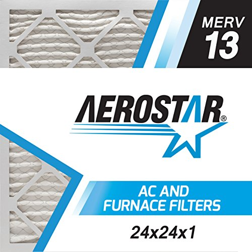 Aerostar Pleated Air Filter, MERV 13, 24x24x1, Pack of 6, Made in the USA by Aerostar