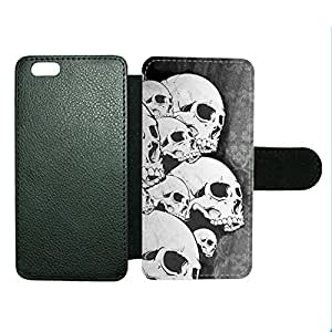 Case Fun Case Fun Grey Skull Faux Leather Wallet Case Cover for Apple iPhone 6 4.7 inch