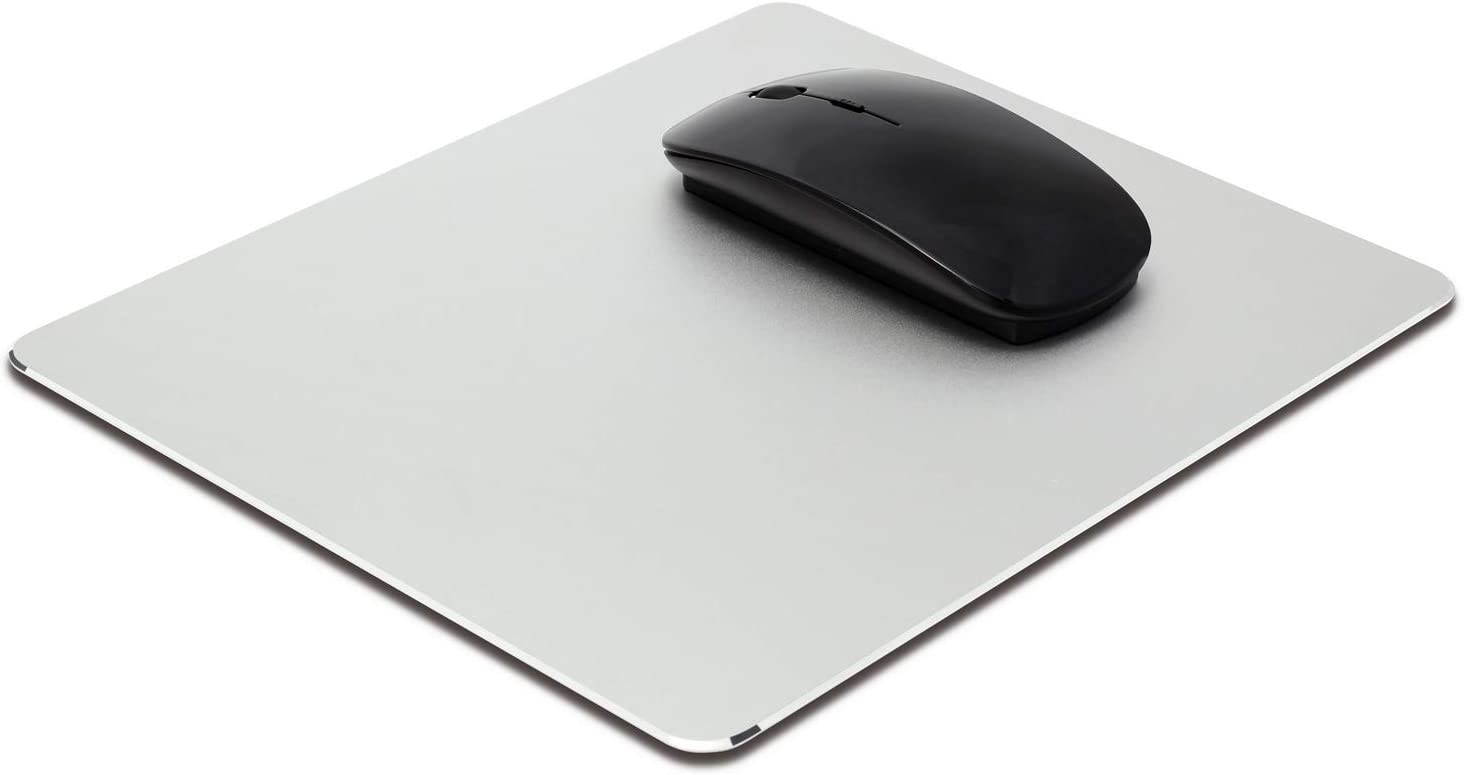 Metal Aluminum Mouse Pad, Office and Gaming Thin Hard Mouse Mat Leather Surface Non-Slip Double Side Precision Silver and Black Mouse Pad for Fast and Accurate Control(Flat)