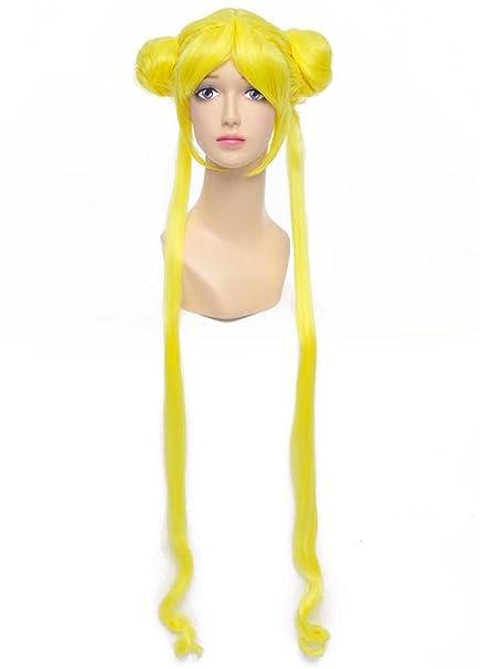 Con estampado de marinero luna Etruke una Larga de pelo rizado de color amarillo Anime traje