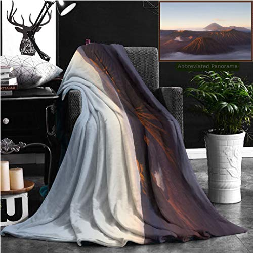 Unique Custom Flannel Blankets Volcanoes Of Bromo National Park Java Indonesia Super Soft Blanketry for Bed Couch, Twin Size 80'' x 60'' by Nalagoo