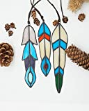 HAOSUM Stained Glass Window Hangings Decorative Small Window Decoration Handmade Suncather Stained Glass Feather Outdoor Garden Decor Hanging Car Ornaments , Set of 3
