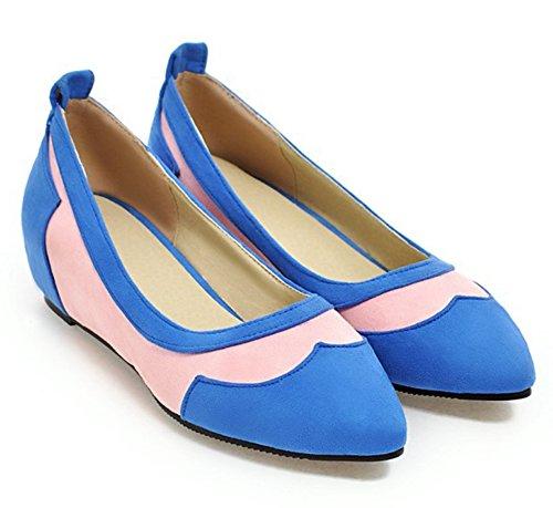 Easemax Couture Tendance Faux Suède Pointu Orteils Bas Haut Mi Caché Talon Pompes Chaussures Bleu