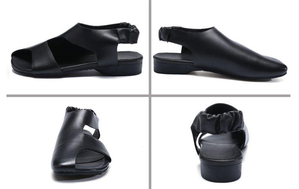 XIE Damenschuhe Fischmund Flachen Sandalen Frauen Sommer Leder Comfort Comfort Leder Joker Damenschuhe Größe 35-40 schwarz 3ef20c