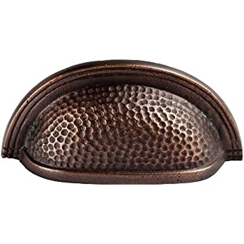 The Copper Factory CF116AN Solid Cast Copper Oval Bin Pull on 3-Inch Centers, Antique Copper