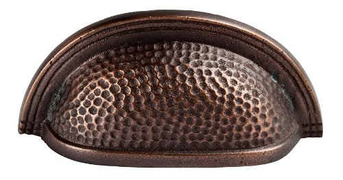 Copper Antique Cup - The Copper Factory CF116AN Solid Cast Copper Oval Bin Pull on 3-Inch Centers, Antique Copper