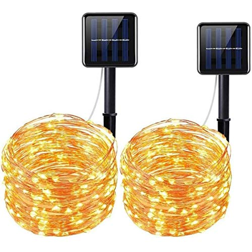 Upgraded Solar Powered String Lights, 2 Pack 8 Modes 100 LED Solar Fairy Lights Waterproof 33ft Copper Wire Lights Outdoor Garden String Lights for Home Patio Yard Party Decoration (Warm White) from LiyuanQ