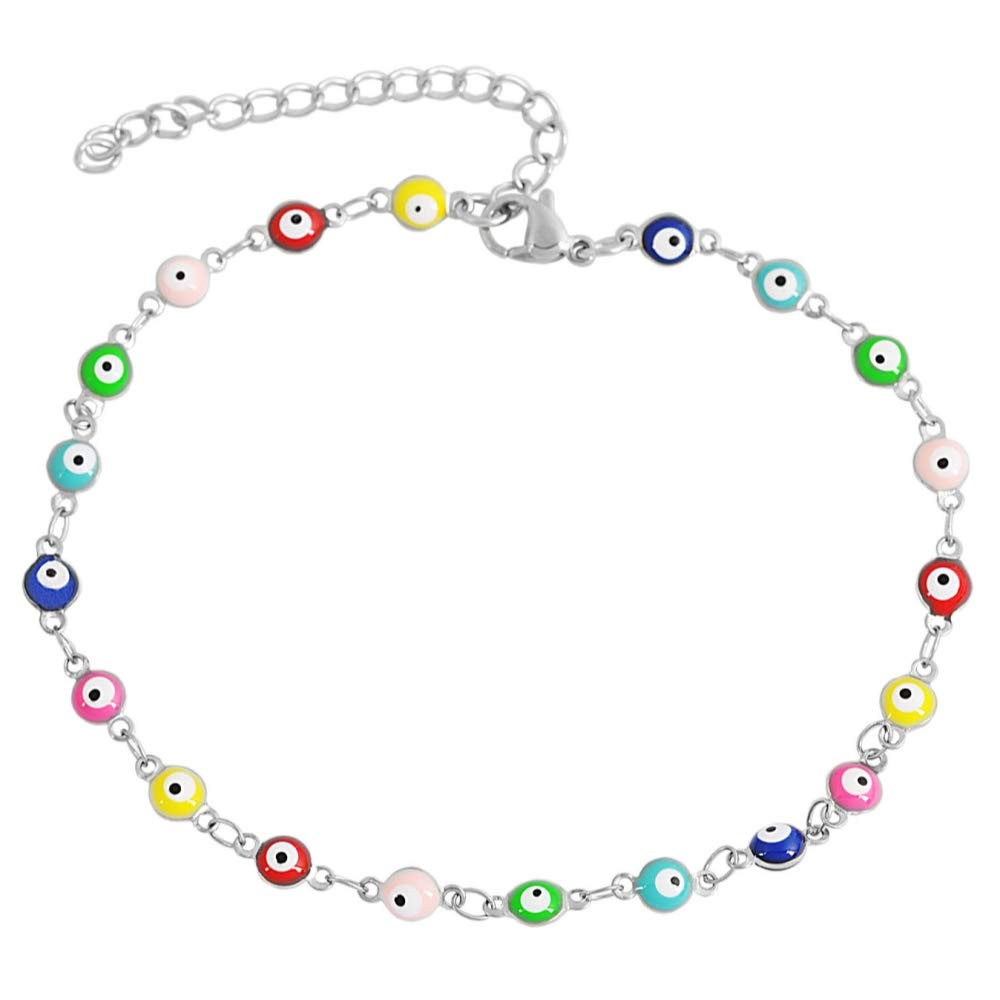 Edforce Stainless Steel Multi-Colored Evil Eye Pendant Anklet, 9''+2'' Extender by Edforce Stainless Steel (Image #1)