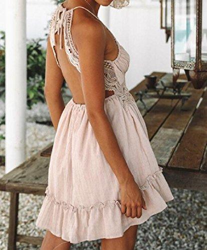 Sfera Si Dell'abito Rosa donne Punto Veste Randello Di Sera Backless Pizzo Da Di Orlo Coolred Fionda qfHSR