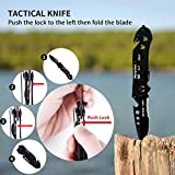 Morpilot 5in1 Folding Hunting Knife for Camping Hunting Backpacking Fishing Outdoor Survial, with Knife Sharpener for Sharpening Serrated & Standard Edges, Ideal for gift