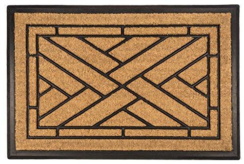 Entryways Diagonal Tiles All Natural Coconut Fiber Coir,  Recycled Rubber and Natural Latex  Bootscraper Doormat, 24