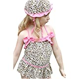Girls Fashion and Beautiful Leopard Swimwear Bikini Swimsuit SW2 (2T(70-80CM))