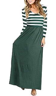 2a2d8cd11d7fae Quceyu Damen Langarm Kleid Patchwork Streifen Rundhals Lange Kleid Elegant  Maxikleid