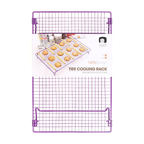 "Cake Cool (Cooling Rack Grid Food Grade Non-Stick Steel 17x11"" Multipurpose Wire Rack Sturdy Cookies Sheet for Faster Cooling Cookies Cake Bread Cooking Roasting Grilling with 4 Stable Legs with Cookies Recipe)"