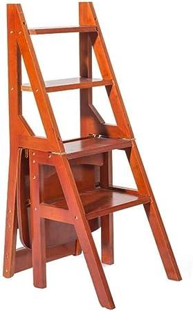 HL-TD Escaleras Extensibles Escalera Plegable Plegable Peldaños De La Escalera De Madera Silla Plegable Oficina Inicio Library Multifunción Heces: Amazon.es: Hogar