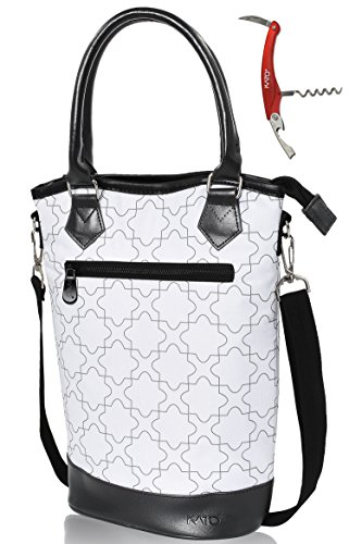 Kato Insulated Wine Tote Bag - Travel Padded 2 Bottle Wine/ Champagne Cooler Carrier with Handle and Shoulder Strap + Free Corkscrew, Great Wine Lover Gift, White