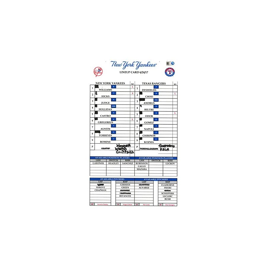 Texas At Yankees 6 24 2017 Game Used Lineup Card Hz934627