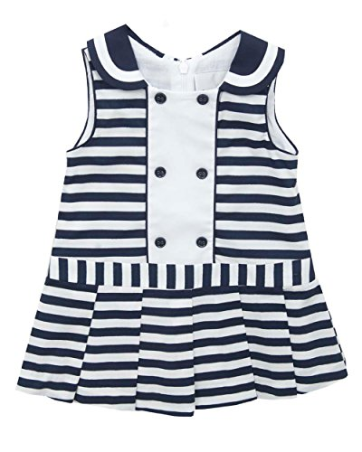 Rare Editions Baby Girls' Striped Woven Dress, Navy/White, 6M