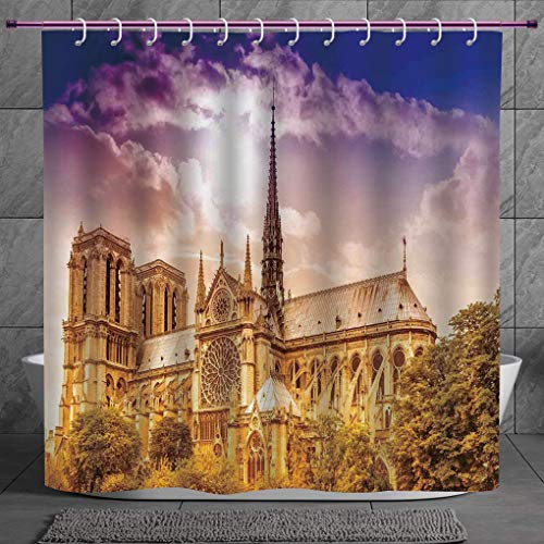 SCOCICI Cool Shower Curtain 2.0 [ Paris Decor,Notre Dame Cathedral Paris Parisian Gothic Trees Forest Sunshines Cloudy Sky, Digital Print Polyester Fabric Bathroom Set -