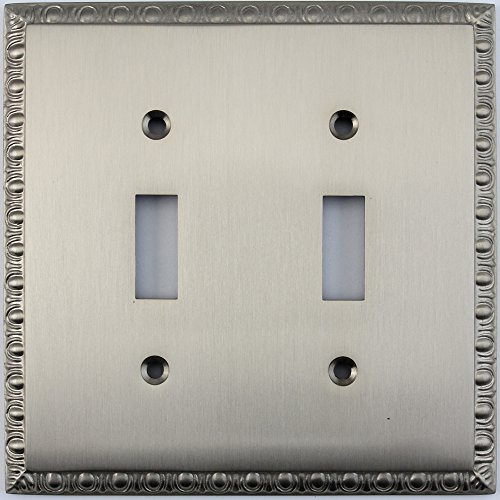 Dart Plate (Egg & Dart Satin Nickel Two Gang Toggle Light Switch Plate)