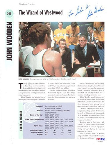 "John Wooden Autographed Signed Magazine Page Photo UCLA""To John"" S43851 PSA/DNA Certified Autographed College Magazines"