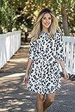 463f07a00902 Tickled Teal Women's 3/4 Sleeve Round Neck Leopard Print Dress (Medium,  Leopard Print)
