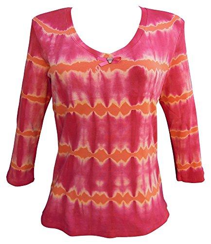 Nature Art Womens Tie Dye V Neck Top Pink Ribbon Shirt 3/4 Sleeves Maple XL -