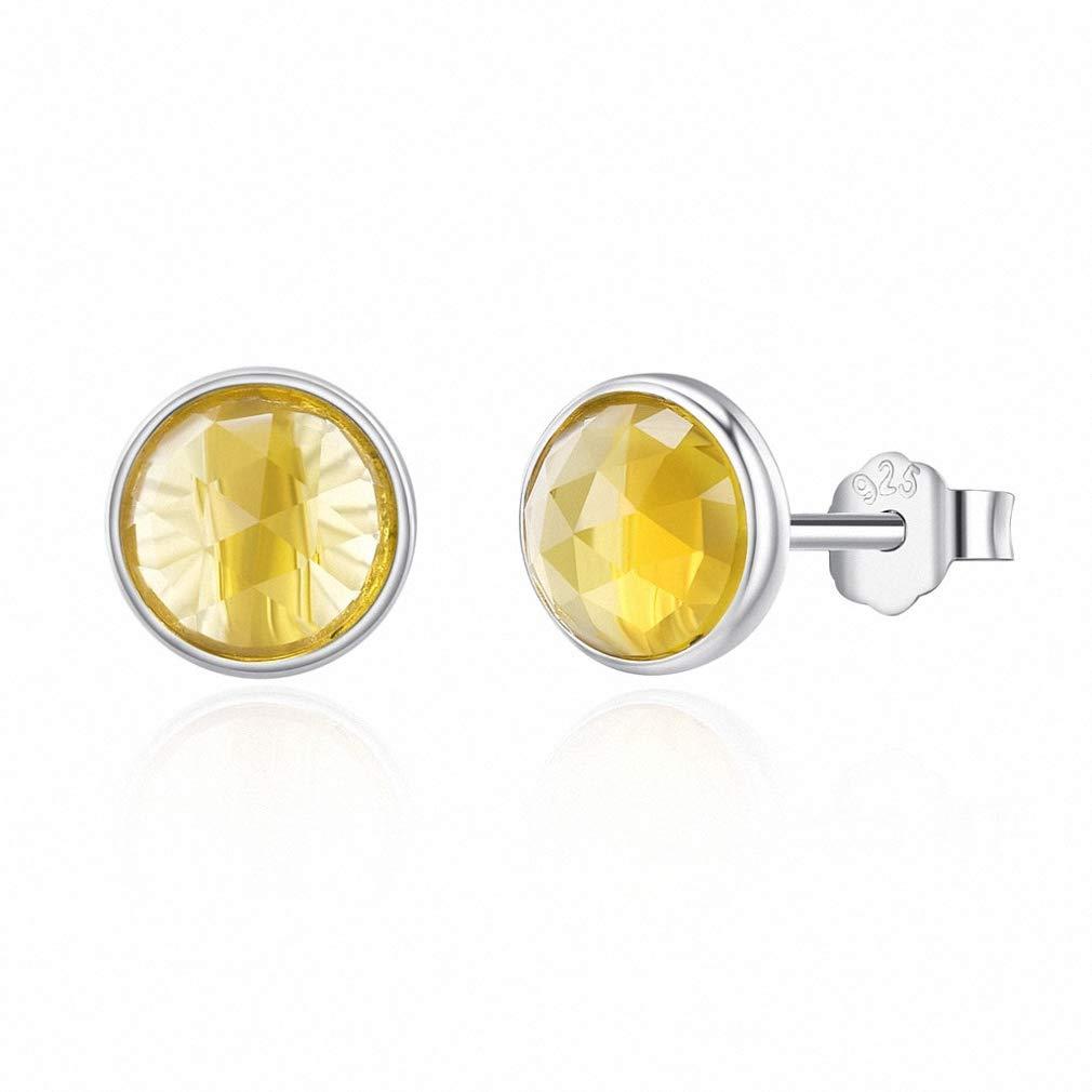 Womens Stud Earrings Popular 925 Sterling Silver Birthstone Droplets Rock Crystal Stud Earrings for Women Fashion Jewelry