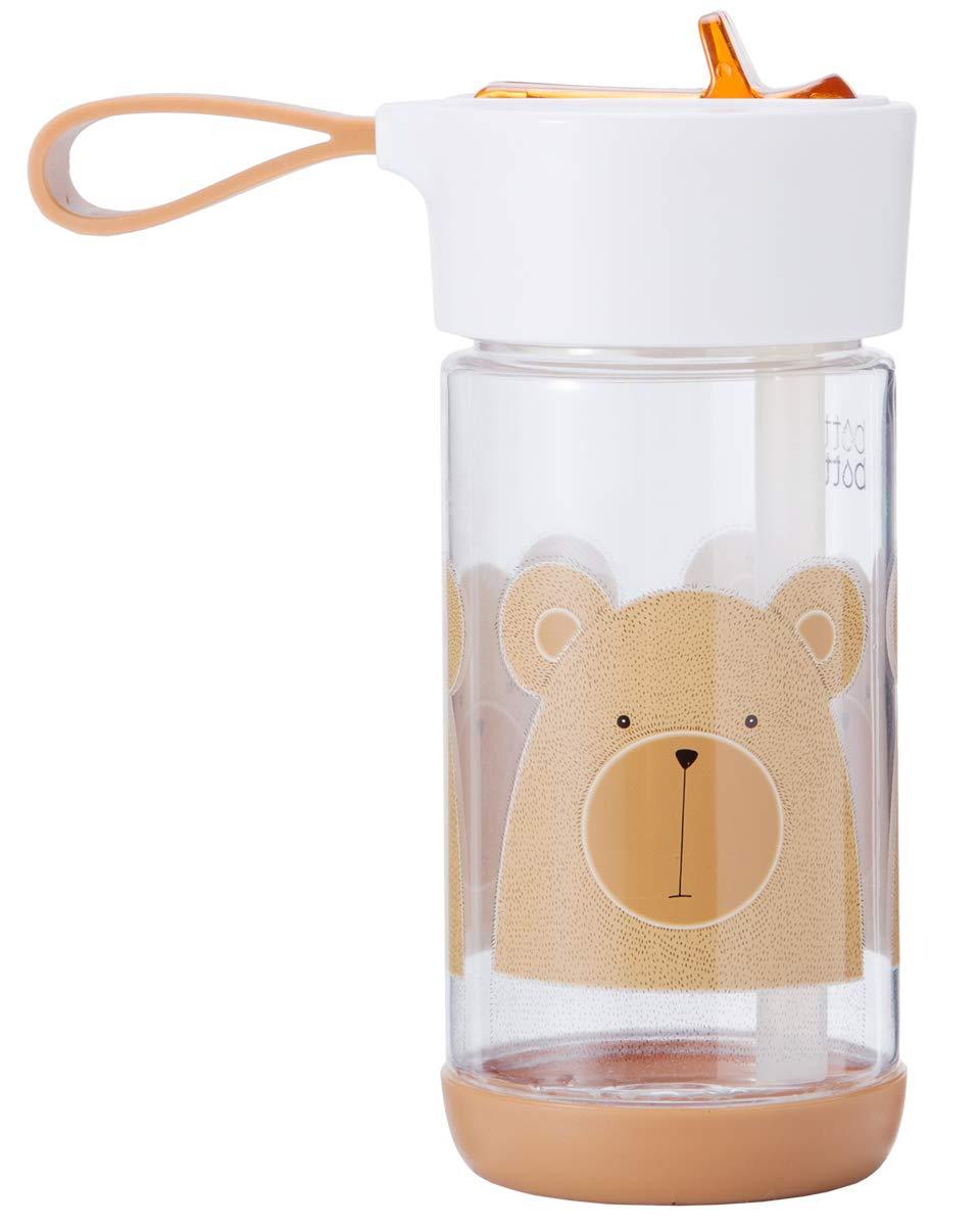 bottlebottle 11.5oz Tritan Leak Proof Kids Water Bottle with Flip Straw and Handle, BPA Free, Brown with Bear ABWBPL-12-009-A2-2