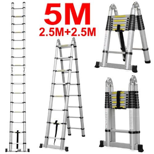 Easyfashion 8 5FT/12 5FT/15 5FT/14 4FT/16 5FT Multipurpose Aluminium  Folding Ladder Extension (5m(16ft5) Telescopic Ladder)