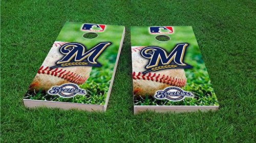 Tailgate Pro's Milwaukee Baseball Cornhole Boards, ACA Corn Hole Set, Comes with 2 Boards, 8 Corn Filled Bags, 1 Vinyl Case & 2 Board Hole Lights