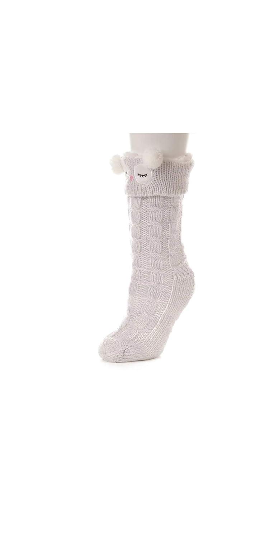 Jane Bleecker Womens Plushfill Owl Slipper Socks Grey O//S