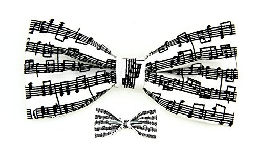 amy2004marie Musical Notes Black/White Bow Tie, 4.5 x 2.5 Inches