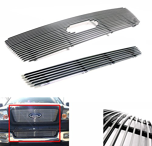 Ford Logo Cut Out - ZMAUTOPARTS Upper + Bumper Billet Grille Grill Insert Combo Logo Cutout For 2004-2005 Ford F-150 Honeycomb Style