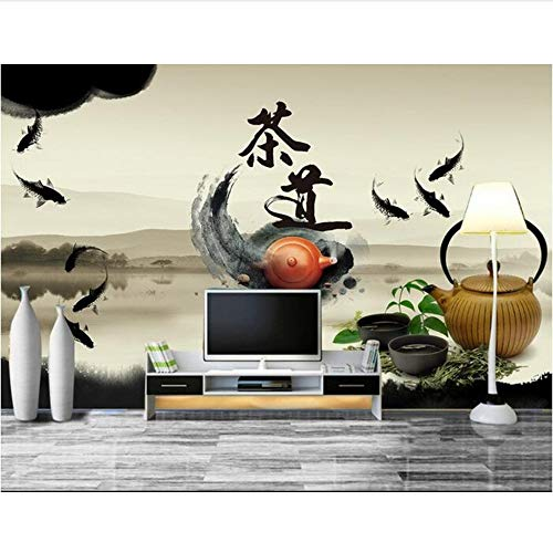 Picture Ink Pot - Pbldb 3D Room Wallpaper Custom Mural Non-Woven Wall Sticker 3D Chinese Teapot Tea Carp Ink Painting Photo 3D Wall Murals Wallpaper-400X280Cm