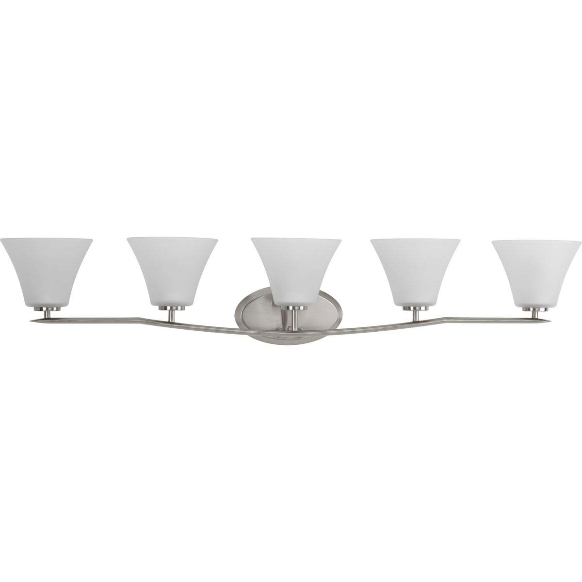 Z-Lite 1900-4V Tidal Four Light Vanity Light, Metal Frame, Brushed Nickel Finish and Matte Opal Shade of Glass Material