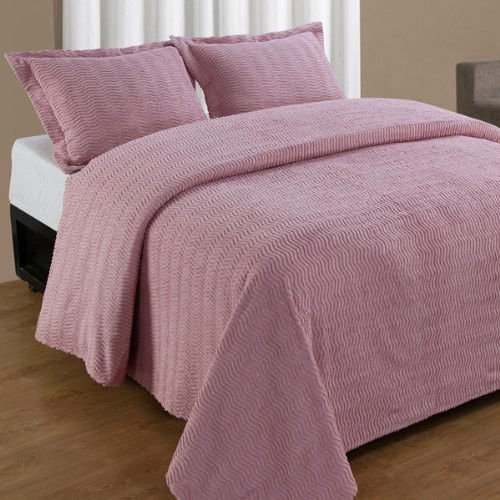 Better Trends Natick Tufted Chenille Bedspread and Pillow Sham Set, Cotton (Twin and 1 Pillow Sham, Pink) ()