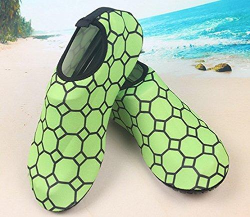 Panegy Mens Womens Atmungsaktives Mesh-Outdoor-Soft-Sohle Anti-Rutsch-Fuß Waten Slip-On Water Skin Schuhe Grün mit Polygon
