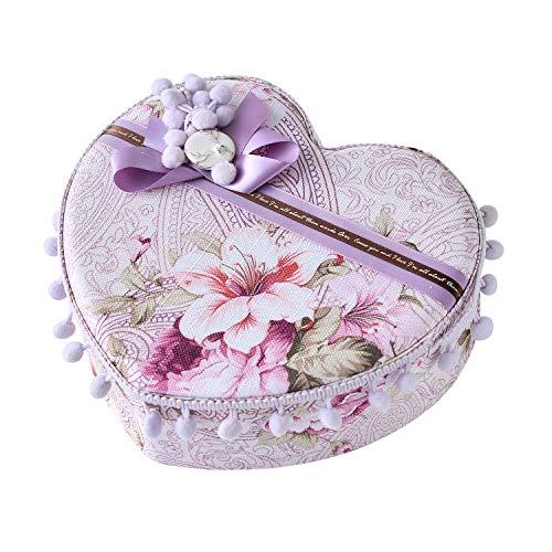 MOHTASHAM New Fancy Purple Jewelry Organizer for Little Girl Heart Shape Handmade Princess Storage Box for Baby Girl Gift (Lace Purple Heart)