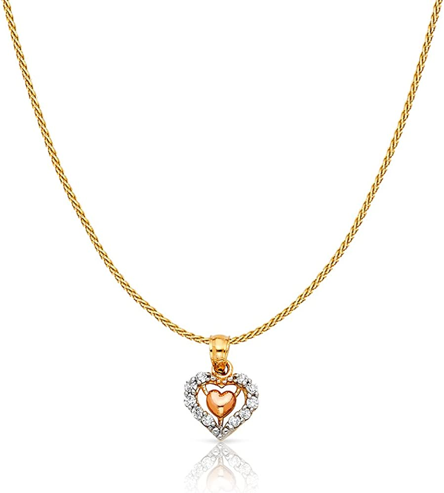 14K Two Tone Gold Cubic Zirconia CZ Fancy Inside Heart Charm Pendant with 0.9mm Wheat Chain Necklace